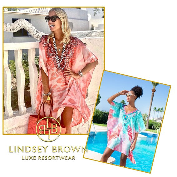 Shop for beautiful printed beach coverups and cotton kaftans  by lindsey brown