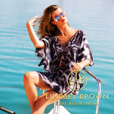 Shop Designer Kaftan in Animal Print By Lindsey Brown