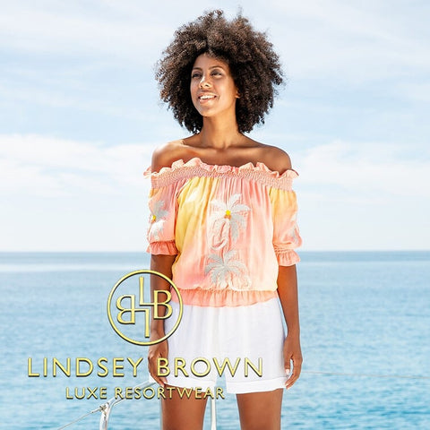 Pretty Peach Bardot Honalulu top by Lindsey Brown Resortwear