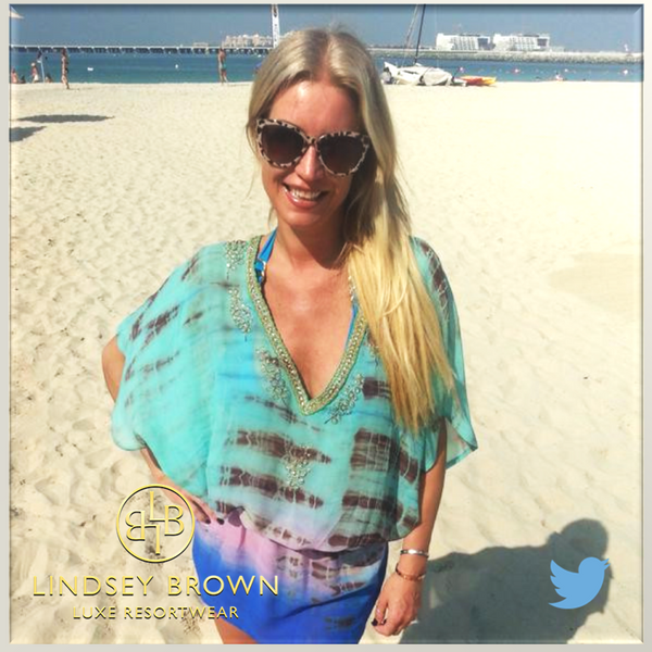 Denise Van OUten wearing kaftans in Dubai. Shop silk celebrity kaftans worn by Denise Van Outen