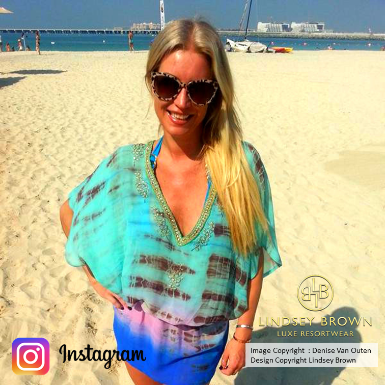 Denise Van Outen wears Blue Silk Kaftans Dress on holiday in Dubai by LindseyBrown
