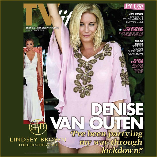 Denise Van Outen wears Pink Silk Cover-up Daily Star Sunday TV Magazine by Lindsey Brown