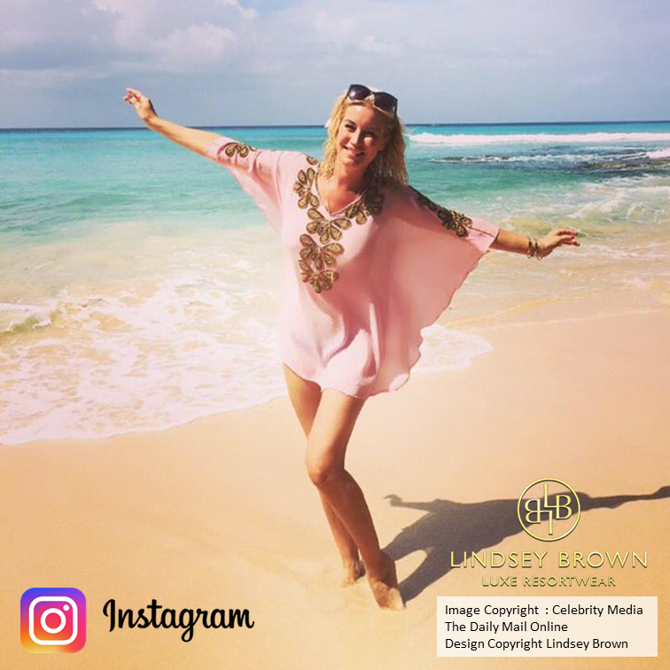 Denise Vane Outen wears Pink Kaftan  on the beach in Barbados by LindseyBrown