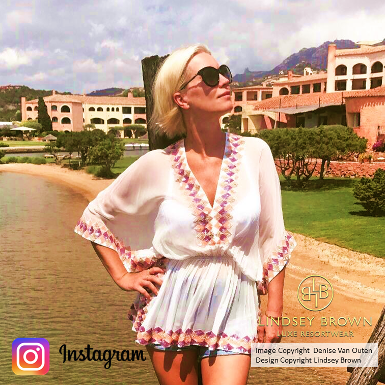 Shop white designer kaftans seen on Denise Van Outen