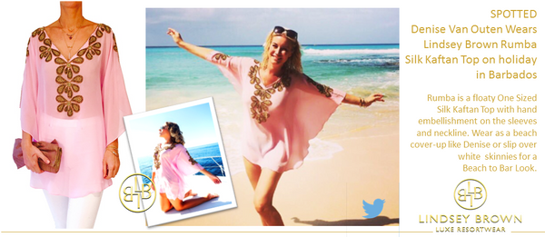 Denise Van Outen wears Stunning Pink Kaftan top in Barbados. Shop the Pink Kafatn Denise Van Outen wore