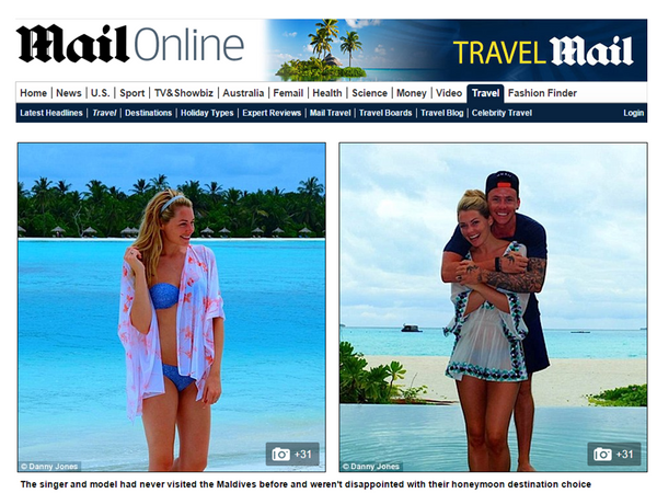 Georgia Jones wears White Kaftan on honeymoon with Danny Jones of  McFly perfect beachwar kaftan to wear on honeymmoon in the Maldives