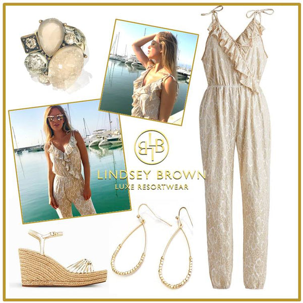 Sparkly gold designer jumpsuits to wear in Marbella