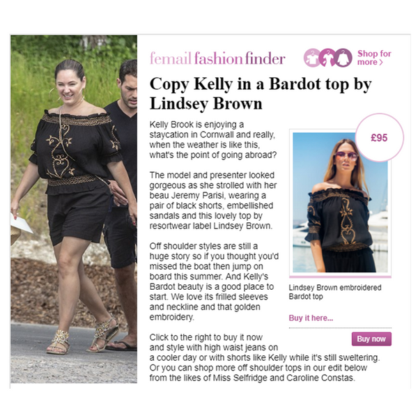 Kelly brook wears Black Bardot top with hearts by Lindsey Brown Resortwear