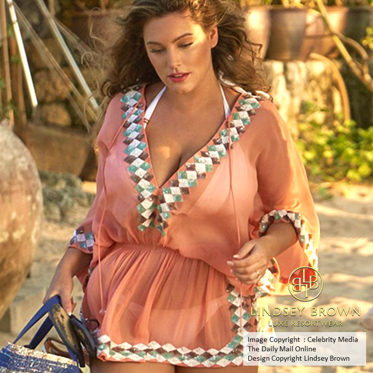 Kelly Brook wears LindseyBrown Silk Manhattan Kaftan Top on holiday in Thailand