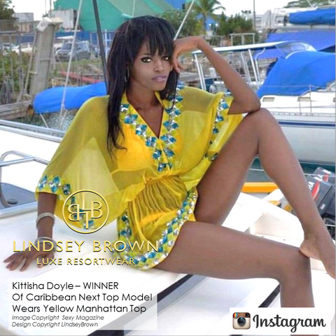 Winner of Caribben NExt Top Model Kittisha Doyle weearing Lindsey Brown Yellow Manhattan Top