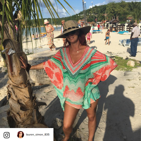 78a107237d Lauren Simon on beach in Antigua in LindseyBrown Designer Cover Up