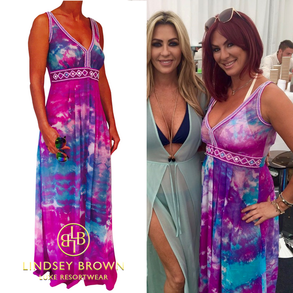 Lauren Simon wearing Lindsey Brown designer Martinique Maxi Kaftan