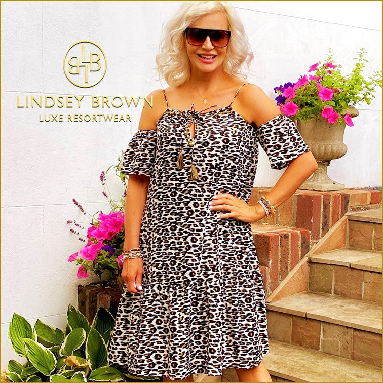 Cancun Cold Shoulder Holiday Leopard Print Dress by Lindsey Brown