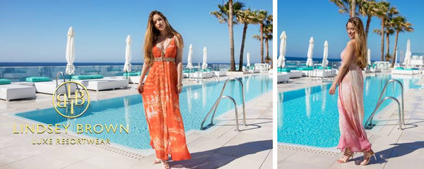 Shop Lindsey Brown Silk Martinique dresses for Luxury Holiday