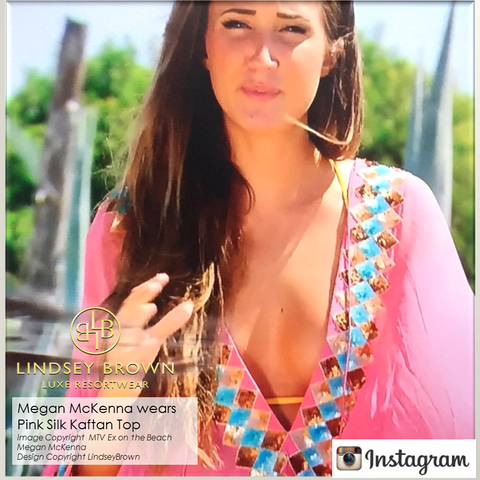 Megan McKenna wearing Pink Silk Manhattn Kaftan top on MTV Show Ex On the Beach