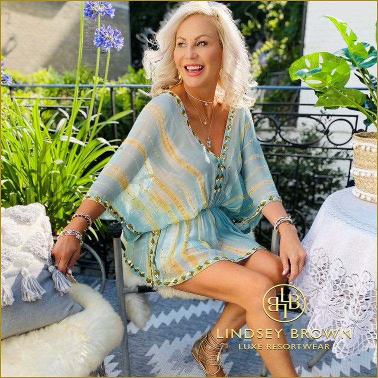New Silk Tie Dye Designer Kaftans to wear in the Maldives by Lindsey Brown
