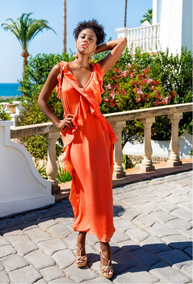 Orange Silk Maxi Dress for the Maldives by Lindsey Brown