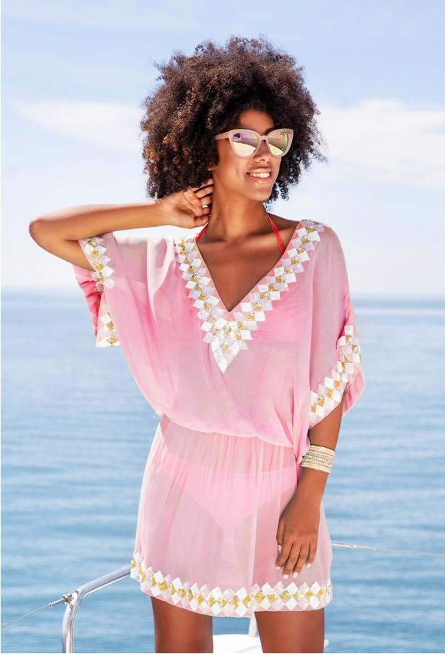 Pink Silk Designer Beach Cover Up by Lindsey Brown Resort Wear