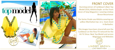 Kittisha Doyle wears Yellow Manhattan Top Winner of Caribbean Next Top Model