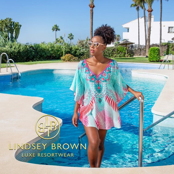 Printed Designer Coverups in  Natural Fibre Cotton by Lindsey Brown resort wear