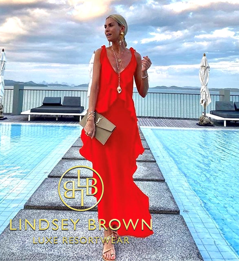 Red Silk Maxi Dress seen on Anna Skoog Anna Mavridis by Lindsey Brown