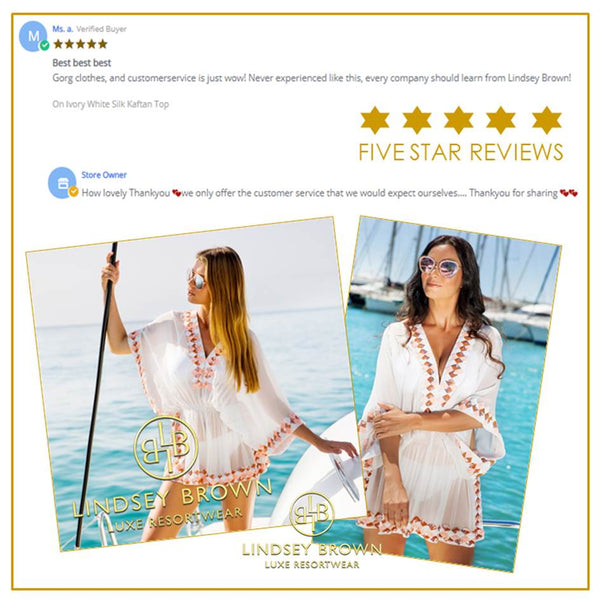 See LindseyBrown's 5* Reviews on designer kaftan tops