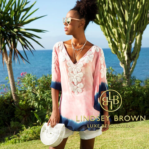 Rumba Pink & Indigo Silk Designer Top by Lindsey Brown Resortwear
