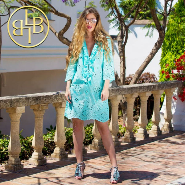 Stunning Santa Fe Cotton Designer Kaftan in Mint by Lindsey Brown