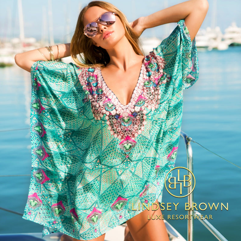 Designer Beach Cover Ups collection by Lindsey Brown includes soft Cotton and luxurious Silk fabrics in both short and longer Cover Ups, in stunning prints and colours. with hand crafted sequins and beading, all personally designed by Lindsey Brown.