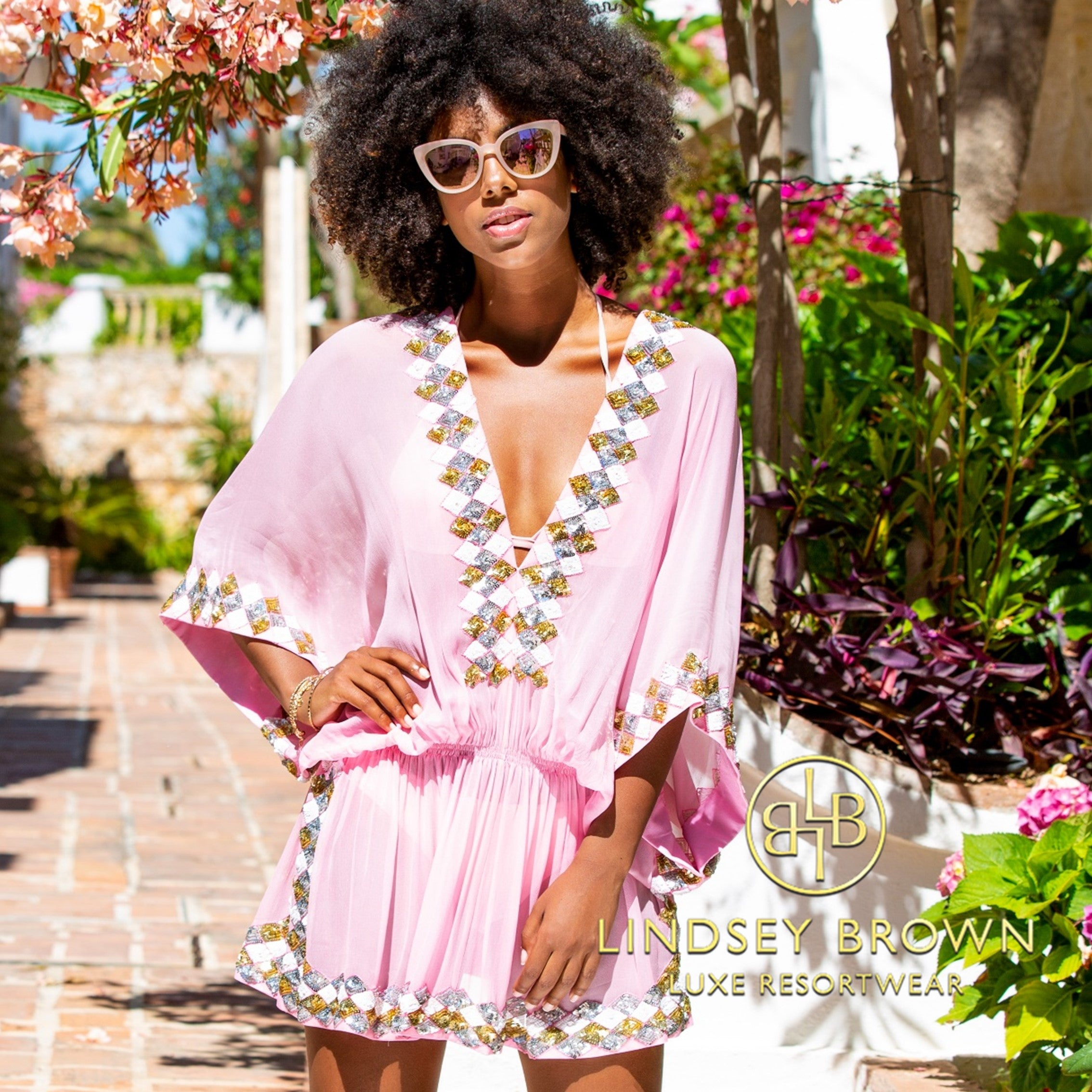 Shop pink silk designer kaftans to wear in the bahamas by Lindsey Brown
