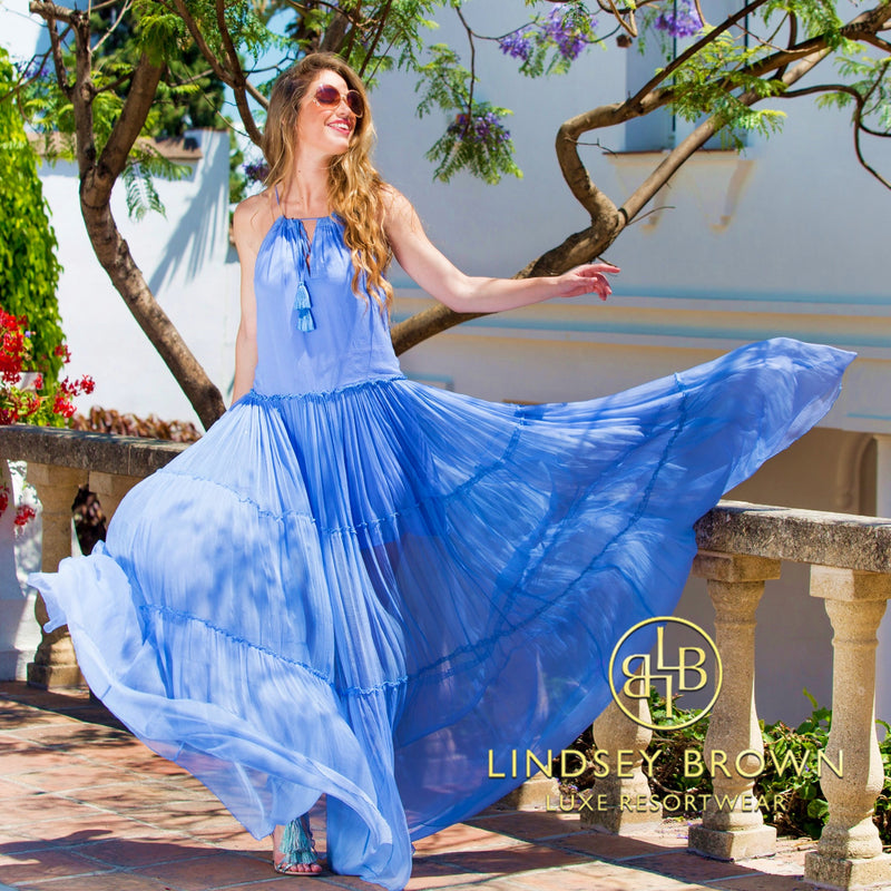 Shop Silk Resort wear Maxi Dresses Cotton Floaty Designer holiday Dresses by Lindsey Brown