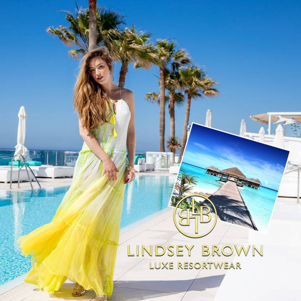 Stunning Santorini Holiday Dress for a Holiday in the Maldives by Lindsey Brown