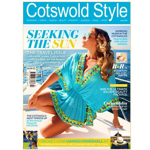 Blue designer resortwear  kaftan top as seen in Cotswold Style Magazine