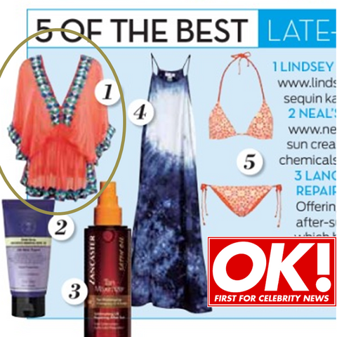coral manhattan silk designer resortwear and designer top seen in ok magazine