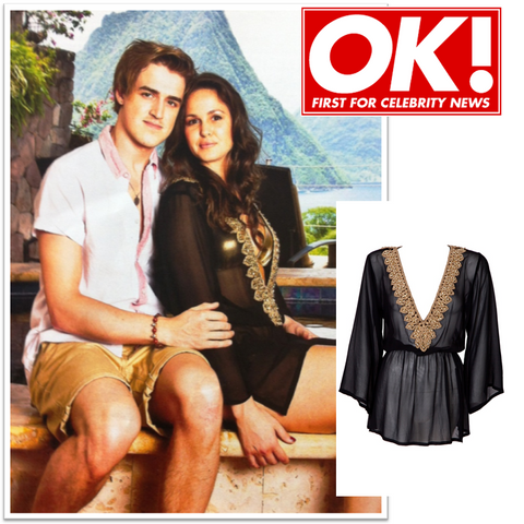 Black Silk Mustique top in OK Magazine worn by Giovanna Fletcher