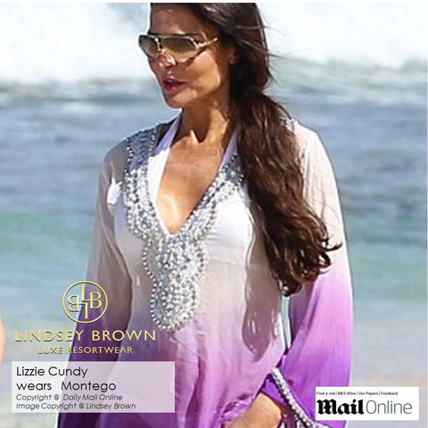 Shop luxury kaftans worn by Lizzie Cundy Shop silk designer beachwear