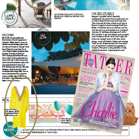 Yellow Miami Silk Designer Kaftan seen in Tatler Magazine. What to wear in Marbella.