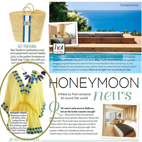 LindseyBrown Yellow Manhattan Designer Kaftan as seen in Wedding Magazine with a monogram Rae Feather