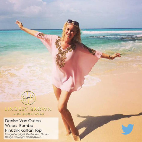 Shop Luxury Designer Kaftans as won by Denise Van Outen in Barbados. Shop Beach kaftans UK
