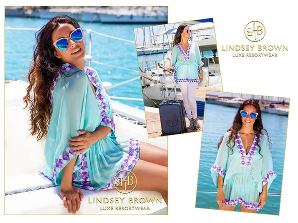 Anna Mavridis wears LindseyBrown Silk resortwear  Aqua Mint top