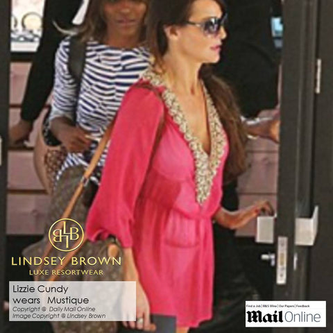 hand beaded silk kaftan tops as won by Lizzie Cundy on Caribbean holidays. The perfect Silk tops to wear on holiday