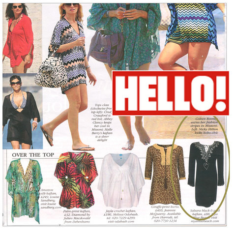 Amore plus size beach kaftan as seen in HELLO magazine