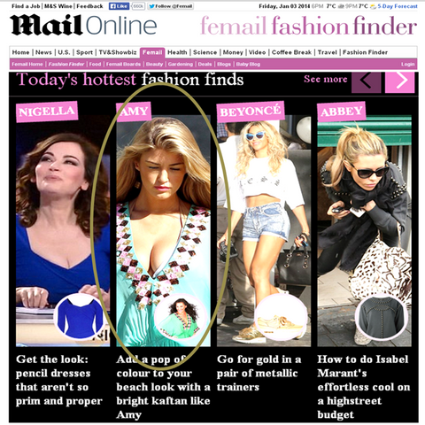Aqua Manhattn Designer beach kaftan seen on Daily Mail Femail