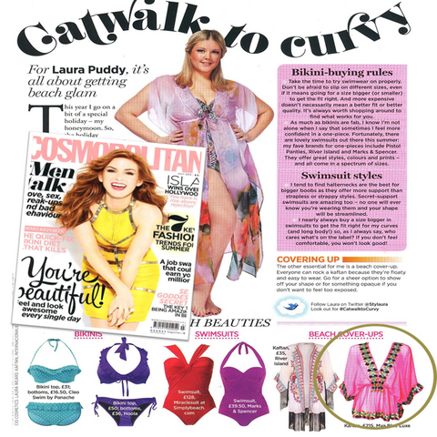 catwalk to curvey in Cosmopolitan magazine feature Pink Manhattan Designer top