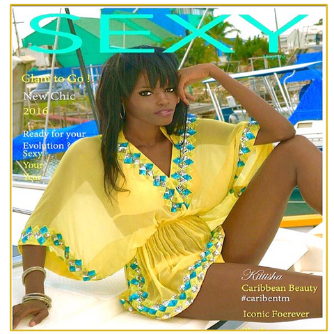 Winner of Caribbean Next Top Model wearing LindseyBrown Yellow Manhattan Designer Kaftan Top