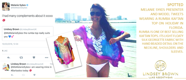 Melanie Sykes wears Purple Top on holiday in Florida. Where can i buy the Purple top seen on Melanie Sykes.