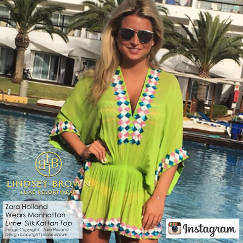 Zara Holland of Love Island wears Lime Manhattan top by LindseyBrown Designer Resortwear