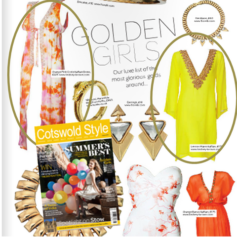 Cotswold Life Silk Kaftan feature on lindsey Brown Yellow Silk Designer Kaftan