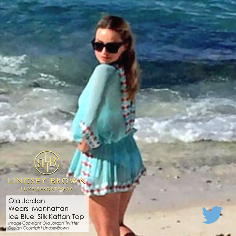 Tops seen on Ola Jordan worn on the Daily Mail.  Blue silk kaftan seen on Ola Jordan in Maldives
