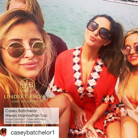 Shop Silk Luxury designer kaftans by Lindsey Brown worn by Casey Batchelor